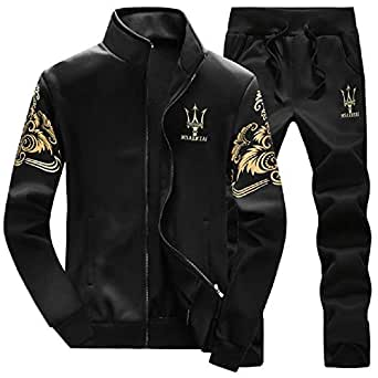Lavnis Men's Casual Tracksuit Long Sleeve Full-zip Running Jogging Sports Jacket And Pants S