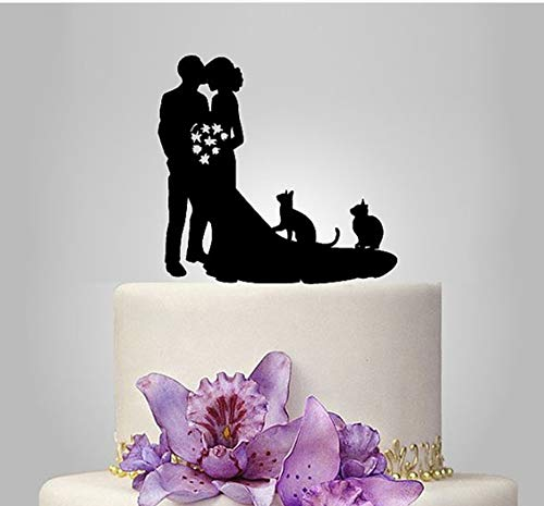 Wedding Cake Toppers Bride and Groom With Cats