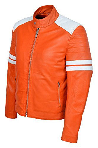 MAYHEM' Men's ORANGE Avec BLANC Stripe Biker Style Fight Club Veste en cuir