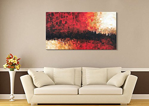 Everfun Extra Large Oil Painting Red Abstract Handmade Huge Canvas Art Wall Decor Modern Decorations for Living Room Office Artwork with Frame Ready to Hang (60''Wx30''H)
