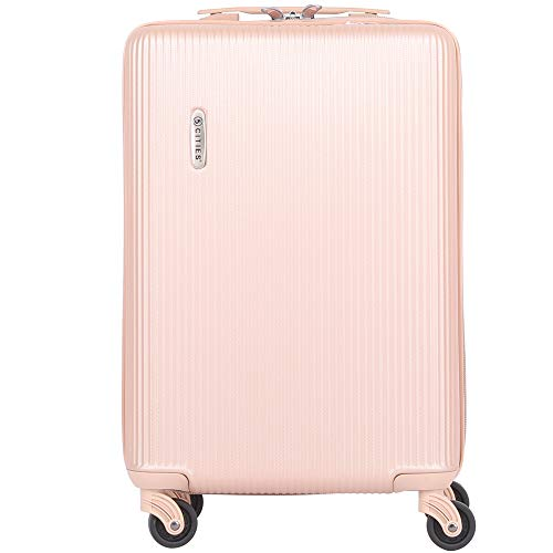 8d5ff7787 5 Cities Lightweight Hard Shell Carry On Cabin Hand Luggage Suitcase with 4  Wheels for Ryanair, easyJet, British Airways, Virgin and More, Champagne
