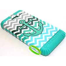 Cellphone Trendz Hybrid Rocker Case for Motorola DROID RAZR M (XT907, 4G LTE, Verizon) – Chevron Anchor Design Hard Shell (Teal Anchor Green Gray Chevron on Teal)