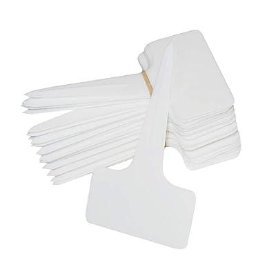 SOUBUN 150pcs 6 x10cm Plastic Waterproof T-Type Tags Plant Markers - Premium Nursery Garden Labels - Eco Friendly – White: Garden & Outdoor
