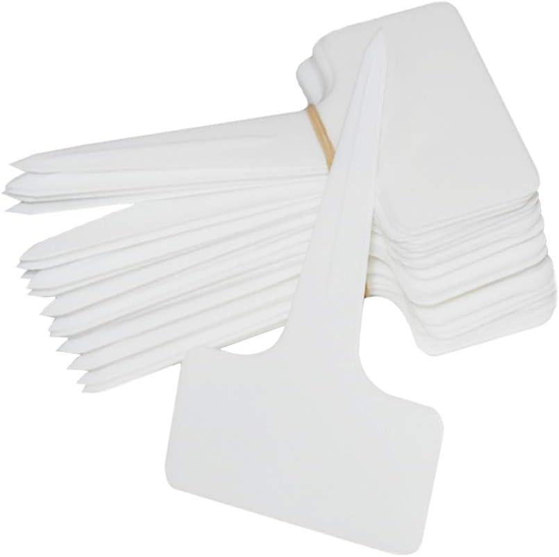 SOUBUN 150pcs 6 x10cm Plastic Waterproof T-Type Tags Plant Markers - Premium Nursery Garden Labels - Eco Friendly – White