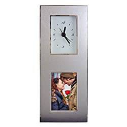 Aluminum Photo Frame Desk Clock, Inovative Design, Holds 2 x 3 Picture.