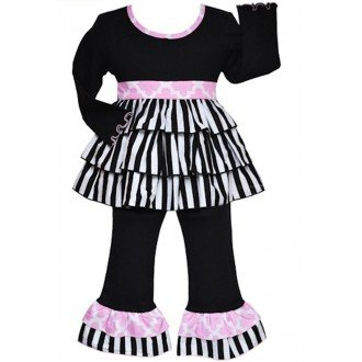 Capri Rumba Outfit - AnnLoren Baby Girls 12-18 mo Black & White Striped Rumba Set designer clothing