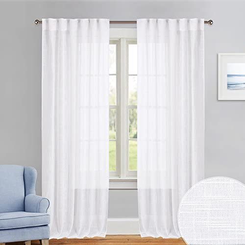 PONY DANCE Linen Look Voile 84 inch – Delicate Semi-Sheer Curtains Rod Pocket Back Tab Draperies Window Treatments Privacy Protect Atmosphere Create for Patio Sliding Glass Door, 52 W x 84 L, 2 PCs