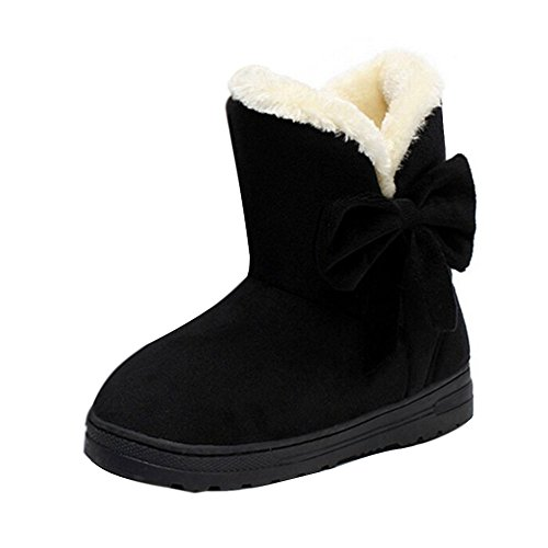 Minetom Frau Mädchen Damen Schlupfstiefel Mit Schleife Winterstiefel Warm Winter Boots Klassisch Schneestiefel Snow Shoes ( Schwarz EU 38 )