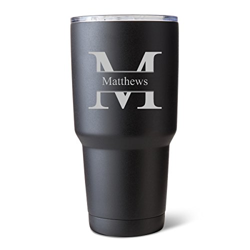 Monogrammed Tumbler - Húsavík 30 oz Insulated Tumber - Personalized Black Matte Double Wall Insulated Tumbler - Monogrammed