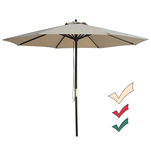 9' Outdoor Market Umbrella - SUNNYARD 9 Ft Wood Market Patio Umbrella Outdoor Garden Yard Umbrella Pulley Lift, 8 Ribs, Taupe