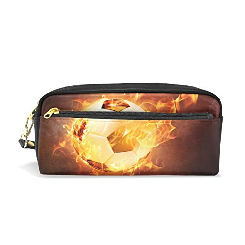 TropicalLife Fire Sport Football Soccer Pencil Case with Zipper PU Leather Large Capacity Stationery Pouch Cosmetic Makeup Bag