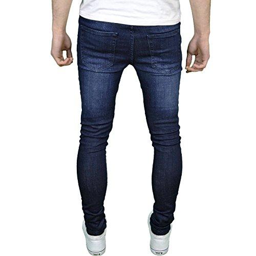 Skinny Stonewash Homme Élastique Super Marine dark Bleu Enzo Pour Jeans TntxqUwR