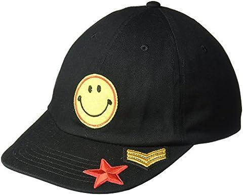 Steve Madden Women's Smiley Face Patch Baseball Cap, Black, One Size - Smiley Black Cap