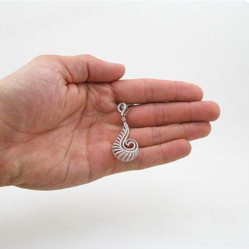 Pendentif diamant 14K Tourbillon Or Blanc et Jaune pour Femme 1,33lp409y 18mm large et 49MM LONG