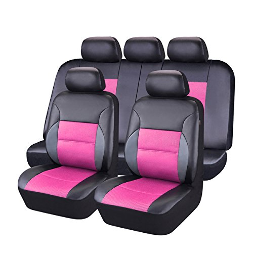 CAR PASS 11 Pieces Leather Universal Car Seat Covers Set - Balck and Rose Pink