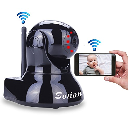 Sotion Video Baby Monitor, HD Wireless Pet Camera with Two Way Audio and Night Vision for Home/Indoor Security, Internet IP Surveillance WiFi Camera System with Motion Detection, Pan and Tilt - Infrared Monitor