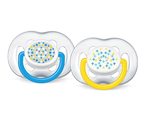 Philips Avent 6-18 Months Orthodontic Freeflow Flow Fashion Pacifier, Blue/Yellow