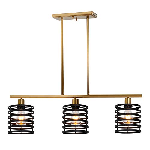 VINLUZ 3 Lights Contemporary Chandeliers Black and Brass Metal Retro Kitchen Island Pendant Lighting Industrial Farmhouse Ceiling Light Fixtures Dining - 3 Contemporary Light Chandelier