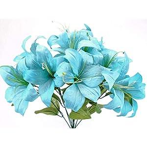 """Phoenix Silk Tiger Lily Bush Satin Artificial Flowers 11-8225TQ 19"""" Bouquet Blue Turquoise 6"""