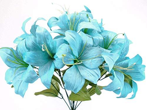 Phoenix Silk Blue Turquoise Tiger Lily Bush Satin Artificial Flowers 19
