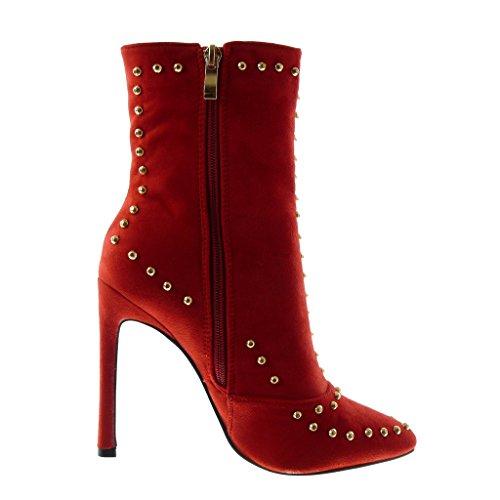 Doré Légèrement Perle Mode 5 Femme Cm Bottine Aiguille Chaussure Rouge Intérieur Fourrée Talon Stiletto 11 Angkorly Haut Clouté n0x4fZ