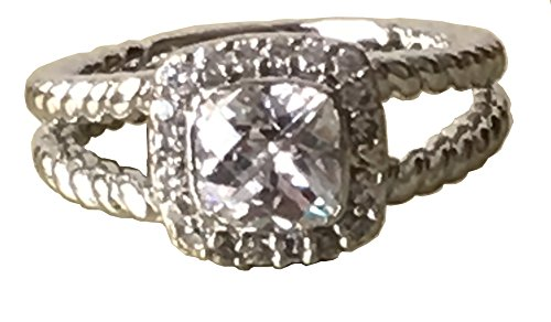 Gempara 14K White Gold Plated 6mm Antique Style 6mm 1.43Ct Checkerboard Cushion Swarovski Pure Brilliance Petite Albion Ring (7) by Gempara