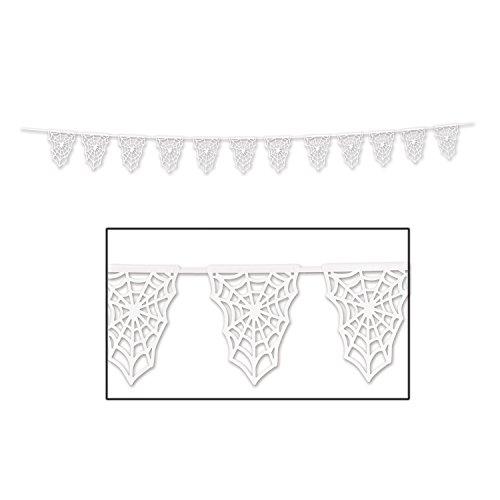 Beistle Club Pack Halloween White Paper Die-Cut Spider Web Pennant Banner, Box of 12 -