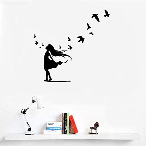 Vinyl Wall Art Inspirational Quotes and Saying Home Decor Decal Sticker French Quote Jolie Petite Fille Et Petits Oiseaux Pretty Little Girl and Little Birds
