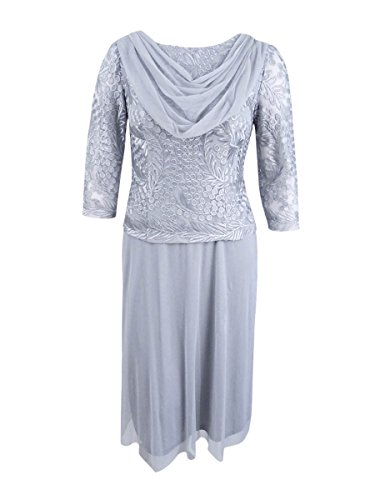 - Alex Evenings Women's Sequin Lace Mock Dress (Petite and Regular), Platinum, 10