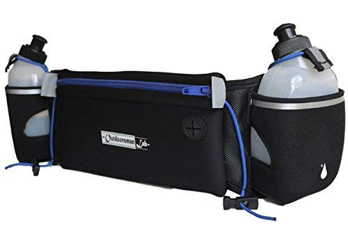 Outdoorsman Lab Runners Belt - Hydration Belt with Two 10 oz BPA Free Water Bottles - Bounce-Free Pouch for Phone & Keys - for Running, Cycling & Hiking - Adj Straps, Buckle Clip, Fits 28-38