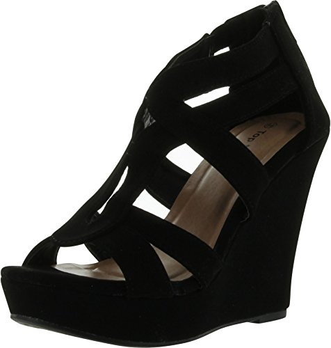 Women's Strappy Open Toe Platform Wedge BK1 8