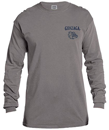 NCAA Gonzaga Bulldogs Vintage Poster Long Sleeve Comfort Color Tee, Large,Grey