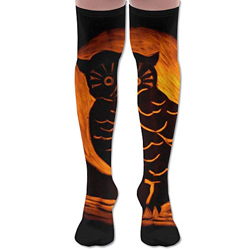 Men Women Halloween Owl Premium Knee High Socks Athletic Soccer Crew Tube Sock Stockings Sports -