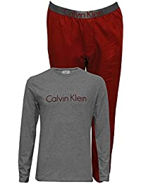 Boys Long-Sleeve Jersey Metallic Logo Flannel Pyjama Set, Burgundy / Grey Heather · Calvin Klein