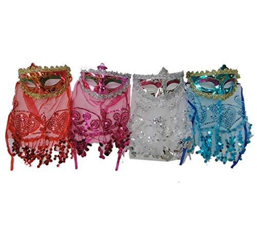 (Rimi Hanger Assorted Masquerade Masks with Veil and Sequins Pack of 4 Hen Night Fancy Dress One)