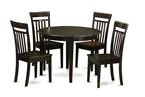 East West Furniture BOCA5-CAP-W 5-Piece Kitchen Nook Dining Table Set, Cappuccino Finish