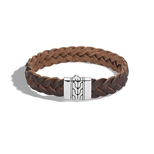 John Hardy Men's Classic Chain Silver Bracelet on 13mm Brown Leather Cord with Pusher Clasp, Size M ()
