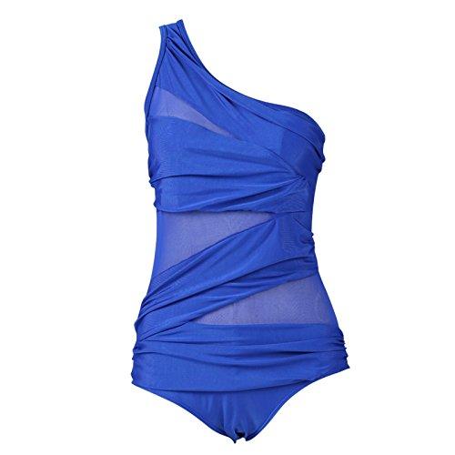 Beauty7 Damen Netzartiger Badenanzug Figurformender One Piece Bademode Bandeau Einteiler Bauchweg Monokini One Shoulder Rückenfrei Swimsuit Blau