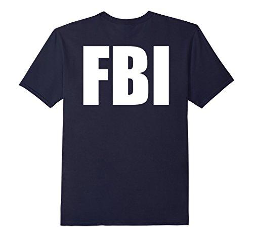 Men's FBI Costume Shirts! Back Print Medium Navy