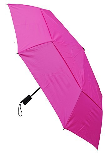 COLLAR AND CUFFS LONDON - Windproof STRONG StormProtector Compact Folding Umbrella - Vented Canopy - HIGHLY ENGINEERED TO COMBAT INVERSION DAMAGE - Automatic Open and Close - Small - Hot (Hot Pink Umbrellas)