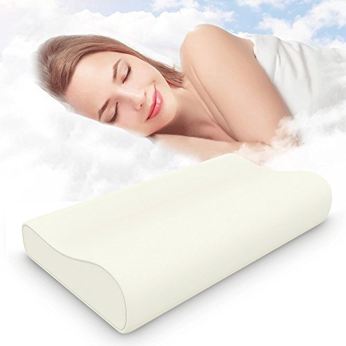 ESEOE Memory Foam Pillow, Best Sleep Innovations Cervical Pillows for Neck Pain,Micro-Vented Soft Neck Support Pillow and Washable Pillow Case(Standard) (Rice white) (Support Pillow Cervical Neck)
