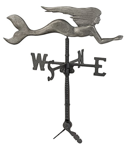 Montague Metal Products Swedish Iron Finish Mermaid Weathervane, 32""
