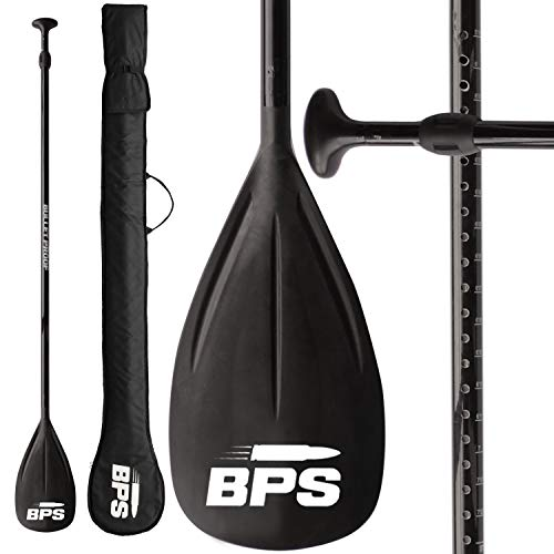 BPS 2-Piece Carbon Fiber Shaft SUP Paddle - Easy to Assemble Ultra Lightweight and Durable Shaft Easy to Adjust for Paddlers Standup Paddleboarding - Comes with Bag - Arctic White Accent