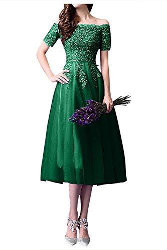 Glamour La Wadenlang Tuell Partykleider Grün Braut Traube Abendkleider Marie Spitze Kurz Brautmutterkleider xqppwAB