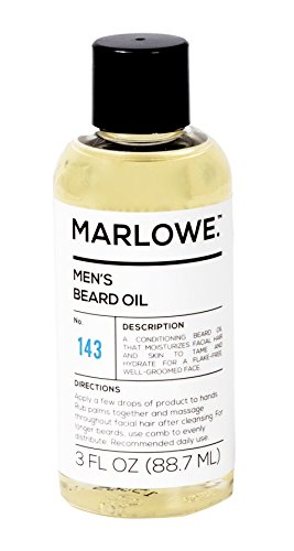 MARLOWE. Unscented Beard Oil Conditioner for Men No. 143 | Softer & Fuller Beard | Large 3oz Size | 100% Natural | Condition and Nourish Beard Health