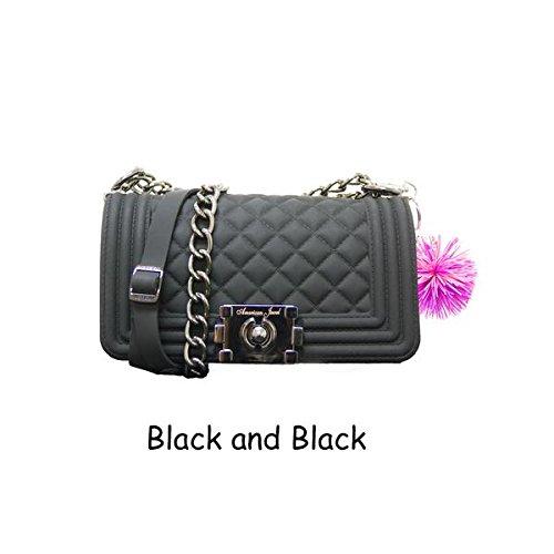 Danielle Boy Bag Purse - Silicone Shoulder Bag with Adjustable Straps - Black  - Gray Strap - Pom Pom Keychain - Girls & Teen Accessories  - Dress-Up -