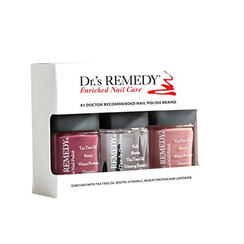 Dr.'s REMEDY Enriched Nail Polish, ANNIVERSARY 3Piece Boxed Set, Brave Berry/Resilient Rose/Total Two-in-one
