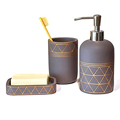 Satu Brown Bathroom Set Bathroom Accessories 3 Pieces Bathroom Soap Dispenser, Toothbrush Holder, Soap Dish Luxury Set… - Bathroom Accessory Set 3 Pieces - Made of quality resin, this combo set includes 1 x soap dispenser, 1 soap dish and 1 toothbrush holder. Polygon design around the surface, depicting with golden lines, that's sure to grab glances. Unique Design Bathroom Accessories - Each piece is hand made and unique. Its a blend of chic gray and golden color that makes the set look elegant and upscale. It brings a classy look to your bathroom and matches your artful modern bathroom decor. Durable, Easy to Clean - Resin to withstand everyday usage, last without breaking, leaking, or causing a mess. They are easy to clean and remain elegant looks with superior performance over time. - bathroom-accessory-sets, bathroom-accessories, bathroom - 41eYF3nlf7L. SS400  -