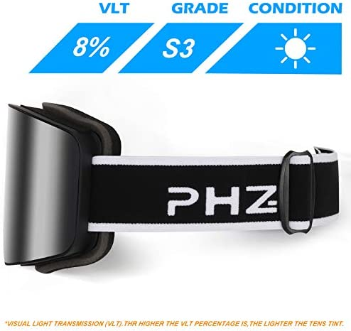 PHZ. Ski Goggles Snowboard Goggles UV 400 Protection Anti Fog Snow Goggles for Men Women Youth
