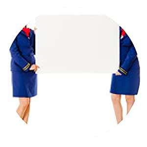 alfombrilla de ratón Los asistentes de vuelo con una bandera - ronda - 20cm